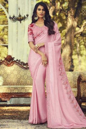 Get Special Look Light Pink Color Sunlight Silk Fashionable Saree