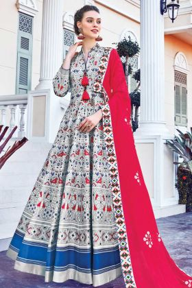 Get Traditional Looking In Soft Silk Printed Gown In Grey Color