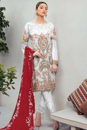 Get Up Nice Look In Fancy & Stylist Light Grey Georgette Pakistani Suit