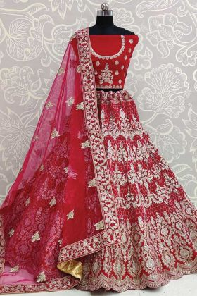 Get Up Pretty Look In Bridal Rani Color Velvet Lehenga Choli