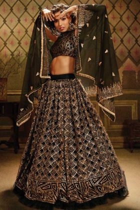 Get Up Pretty Look In Soft Net Black Color Heavy Designer Lehenga Choli