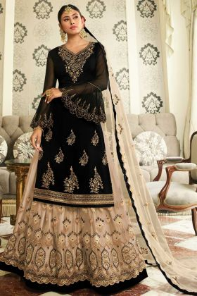 Ghaghara Style Black Color Satin Georgette Indo Western Salwar Suit