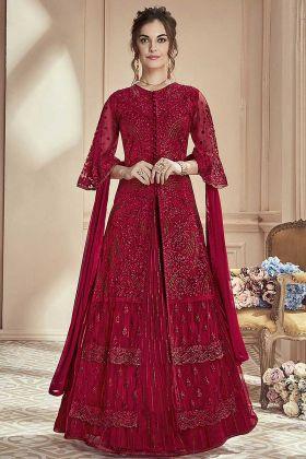 Ghaghra Style Designer Salwar Suit Mono Net Red Color