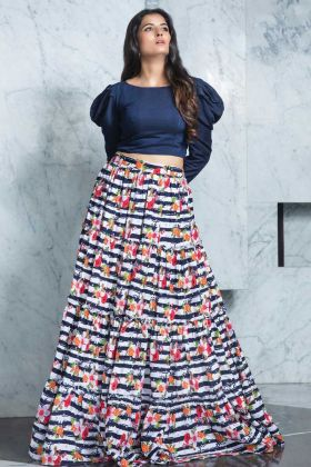 Girly Fashion Navy Blue Top With Crepe Multi Color Skirt