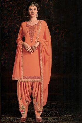Girly Fashion Orange Color Semi Stitched Salwar Suit
