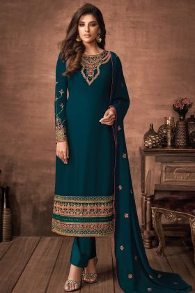 Girly Fashion Rama Color Faux Georgette Party Wear Salwar Suit