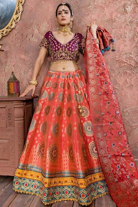 Glamorous Stone Work Banarasi Silk Festival Lehenga Choli In Pink Color