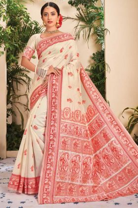 Glamours Cream Color Jacquard Silk Saree