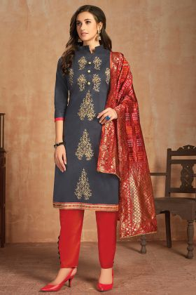 Glaze Cotton Grey Color Latest Salwar Suit