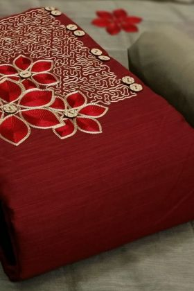 Glorious Slub Cotton Red Color Embroidered Dress Material Set Online