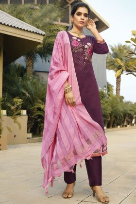 Glossy Heavy Designer Purple Color Zam Silk Cotton Salwar Suit