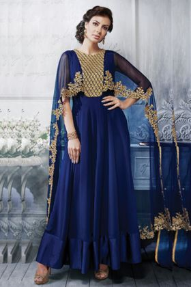 Glossy Navy Blue Color Georgette Heavy Designer Latest Suit