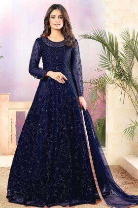Glossy Navy Blue Color Net Fabric Designer Anarkali Heavy Suit