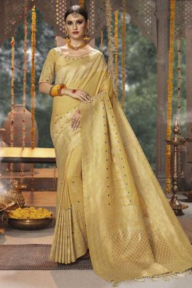 Glowing Banarasi Silk Traditional Saree Cream Color With Zari Work