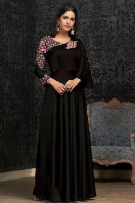 Glowing Georgette Black Party Wear Gown