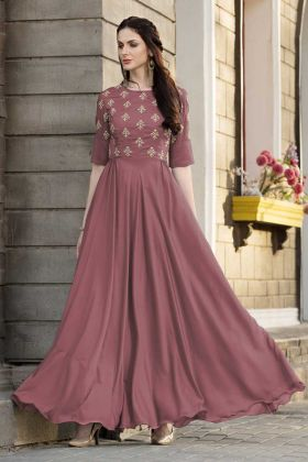 Glowing Partywear Embroidered Slub Silk Gown Rust Color
