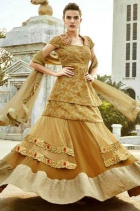 Gold Color Designer Lehenga Dress Online