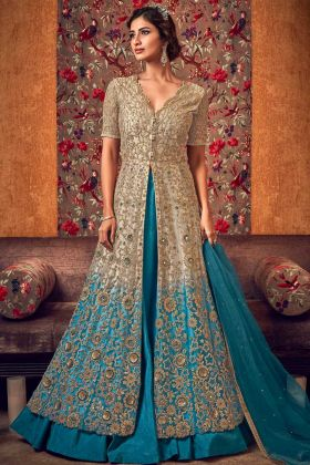 Gold Color Premium Net Shaded Indo Western Suit For Wedding