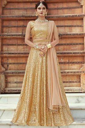 Gold Color Wedding Wear Soft Net Lehenga Choli