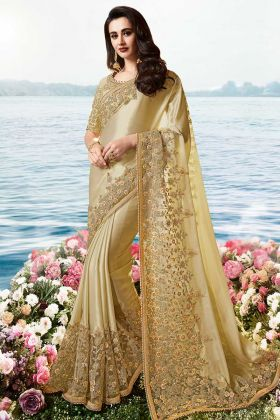 Gold Smoked Pure Viscose Tissue Dark Cream Wedding Saree