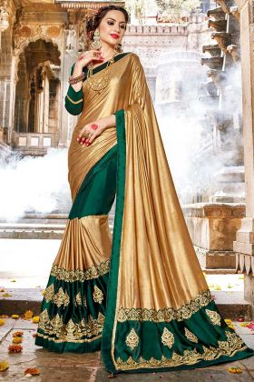 Gold and Green Color Fancy Fabric Wedding Saree With Stone Work