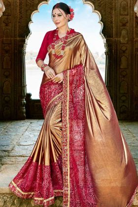 Gold and Red Color Party Wear Saree