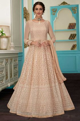 Gold Color Georgette Anarkali Salwar Kameez With Embroidery Work