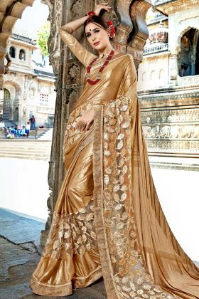 Gold Crepe Silk Party Wear Saree