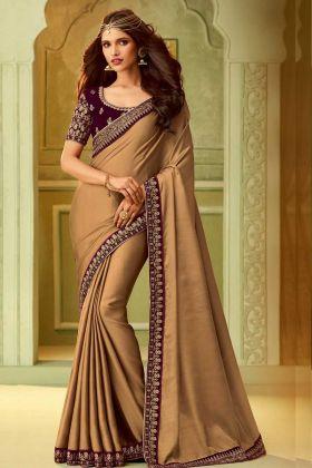 Gold Kiara Silk Fancy Saree Online
