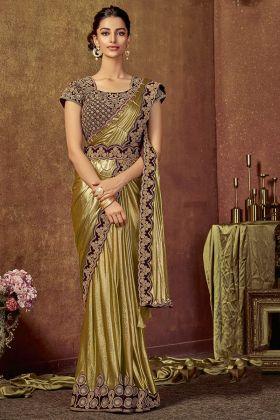 Gold Shimmer Lycra Saree