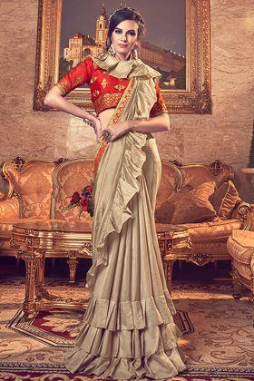 Gold Vichitra Silk Party Wear Ruffle Saree