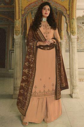 Golden Color Nice Looking Rangoli Georgette Salwar Kameez Dress