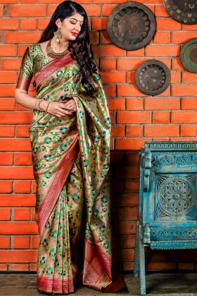 Golden Banarasi Silk Jacquard Saree