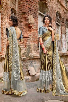 Golden Color Stone Work Stylish Lycra Wedding Saree