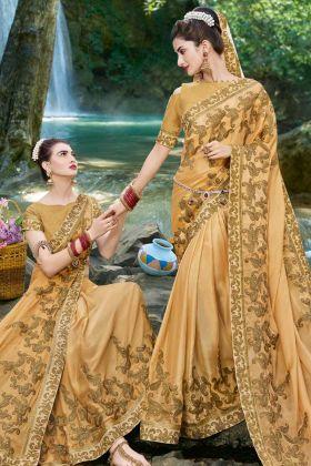 Golden Emboidered Saree Online