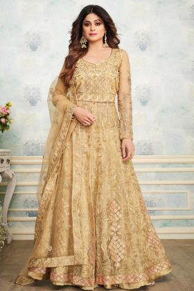Golden Heavy Butterfly Net Indo Western Suit
