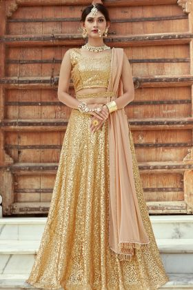 Golden Net Designer Lehenga Choli