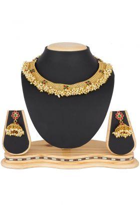 Golden Pearl Work Necklace Jewellery