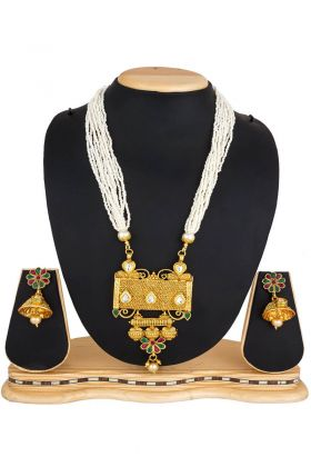 Golden Stone Work Mix Metal Necklace Set