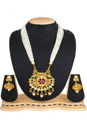 Golden Stone Work Necklace Set