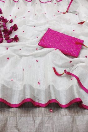 Good Testing White Linen Saree With Mirror Work