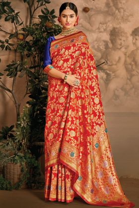 Gorgeous Art Silk Red Color Saree For Special Pooja Collection