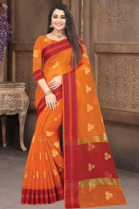 Gorgeous Doriya Cotton Silk Saree In Orange Color
