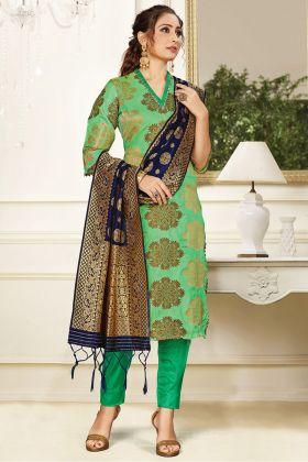 Gorgeous Light Green Banarasi Art Silk Festive Wear Salwar Suit