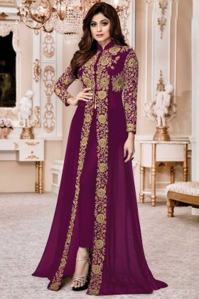 Gorgeous Look In Violet Color Faux Georgette Designer Suit