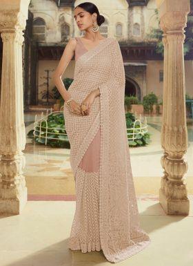 Gorgeous Pastel Brown Soft Net Saree