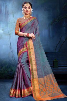 Gorgeous Purple And Blue Color Cotton Silk Saree