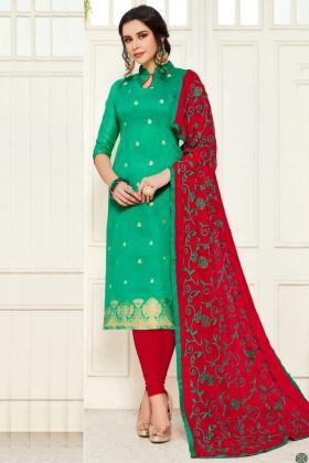 Gorgeous Rama Color Banarasi Salwar Dress Material Suit With Low Rate