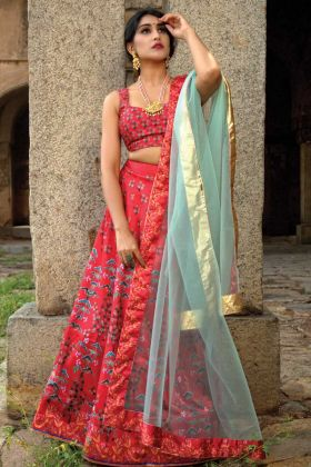 Gorgeous Red Wedding Lehenga Choli Semi-Stitched