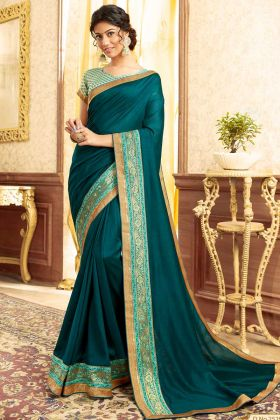 Gorgeous Teal Blue Color Chanderi Silk Saree For Wedding